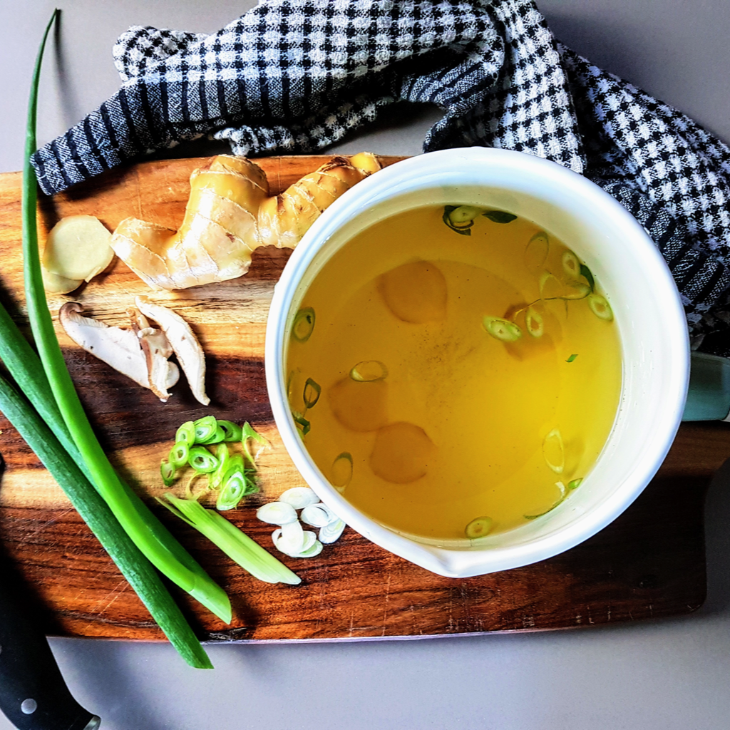 This Ginger Broth is super simple and delicious, you can make it as a nice savory snack when the weather is cold or a light meal any time of year.