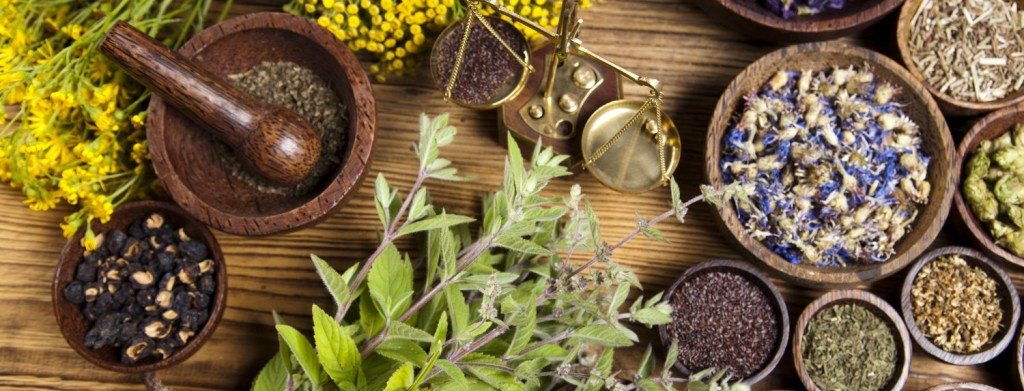 Natural medicine, herbs, mortar