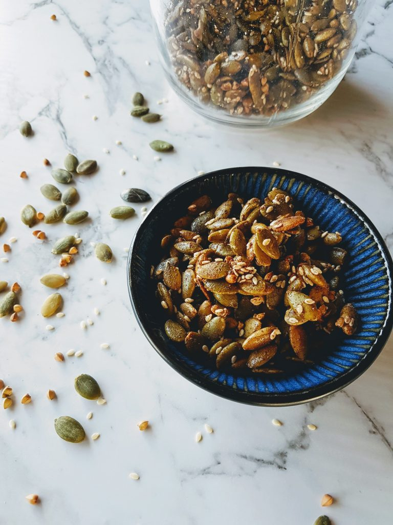 This delicious Spiced Seeds recipe is a simple way to add a little texture and warming energy to spring dishes with beautiful spices and flavours.